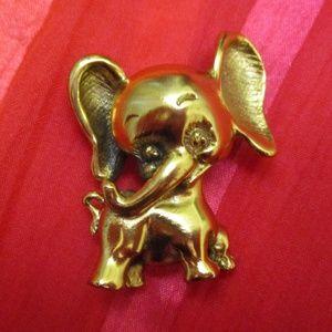 Tortolani 1964 Gold Republican Elephant Brooch